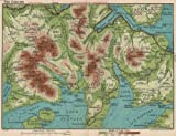 THE COOLINS (CUILLINS) . Vintage map plan. Isle of Skye. Scotland;1932
