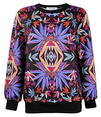 Women's Colorful Symmetrical Maple Leaf Print Sweatshirt Weed Sweater Jumper Pullover Tops Long Sleeve
