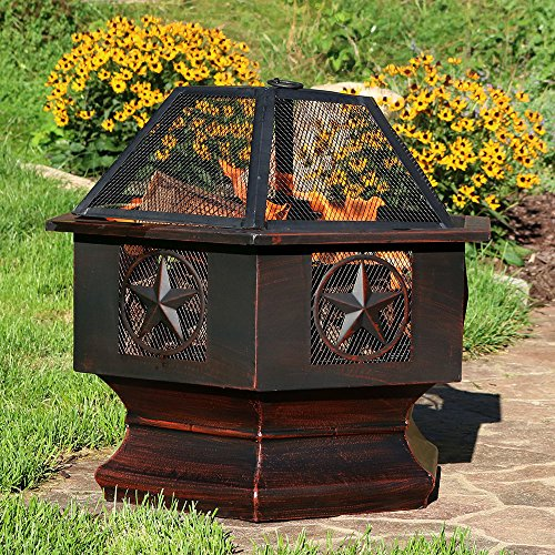 Sunnydaze-28-Inch-Hexagon-Six-Star-Fire-Bowl-with-Spark-Screen-Sienna-Finish