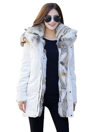 Menschwear Damen Winter Warme Jacke Oberbekleidung Pelz gefuetterter dicker langer Mantel mit Kapuze