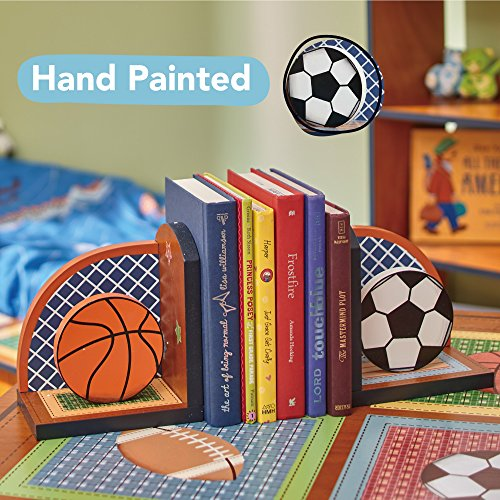 Fantasy Fields - Lil' Sports Fan Thematic Set of 2 Wooden Bookends for Kids   Imagination Inspiring Hand Crafted & Hand Painted Details   Non-Toxic, Lead Free Water-based Paint