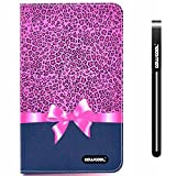 CowCool® Galaxy Tab 4 Case, Samsung Galaxy Tab 4 8.0 Case, Leopard print with Bow PU Leather Colorful Hand Stitching Wallet Leather Wallet Stand Kickstand Case for Samsung Tab 4 T330 (Style4) thumbnail