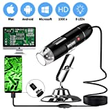 USB Microscope - Portable USB Digital Zoom Microscope 40 to 1000x Magnification Endoscope 8 LED Mini hd Camera with OTG Adapter and Metal Stand, Compatible with Mac Window Linux Android