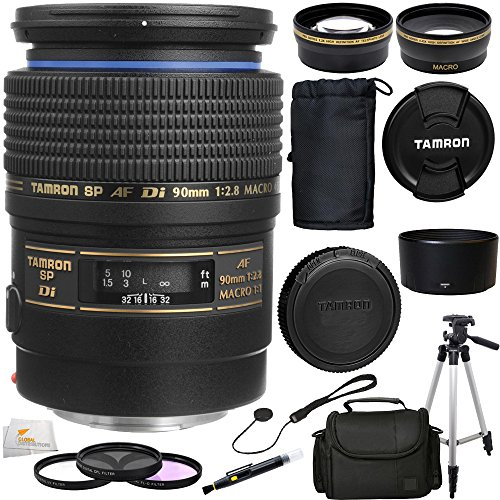 Tamron Af 90Mm F/2.8 Di Sp A/M 1:1 Macro Lens For Sony Digital Slr Cameras (Model 272Em) + 10Pc Accessory Kit. Includes Wide Angle & Telephoto Lenses + 3 Piece Fillter Kit (Uv-Cpl-Fld) + Carrying Case + Full Size Tripod + Lens Cap Keeper + Lens Cleaning P