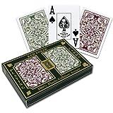 Kem Jacquard Playing Cards: 2-Deck Set Green/Burg (Poker - Wide)