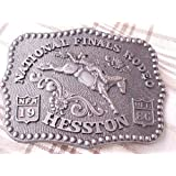 1986 Hesston NFR Belt Buckle -- Jr. Mini Little Buckaroo Buckle -- Hesston National Finals Rodeo Belt Buckle NEW -- MINT IN PACKAGE -- SMALL-SIZED YOUTH / JUNIOR / LADIES BUCKLE -- Bareback Bronc Riding -- National Finals Rodeo -- NFR!