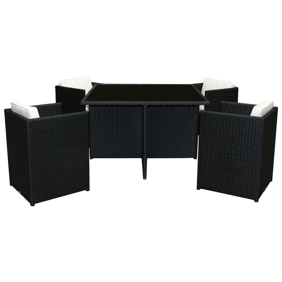 Bentley Garden – Korbmöbel-Set – Rattan-Optik – Glastisch & 4 Stühle – Schwarz & Creme – 5-teilig günstig