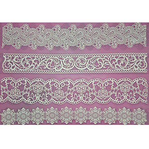 FOUR-C Design Cake Mat Lace Silicone Mat Cake Tools Color Pink