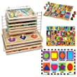 Melissa & Doug Deluxe Chunky Puzzle Bundle: Shapes Chunky, Jumbo Numbers Chunky, Jumbo ABC Chunky with Deluxe Wire Puzzle Rack