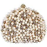 Exquisite Intricate Pearl Beads Rhinestone Encrusted Closure Half-moon Hard Case Clutch Baguette Evening Bag Handbag Purse w/2 Chain Straps