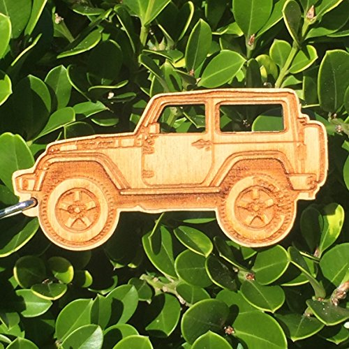 Wooden JK Jeep Wrangler Key Chain for Jeep Wrangler Enthusiasts