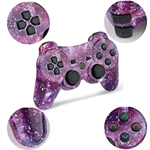 PS3 Controller Wireless Double Shock Controller for Playstation 3 with Charge Cord   (Color: Purple Star)