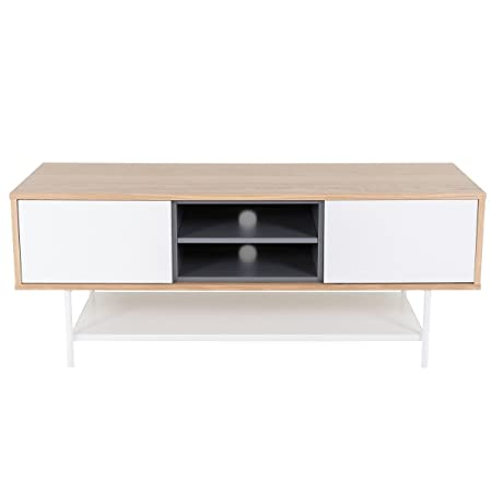 Meuble TV 2 portes coulissantes plaqué chêne et laqué blanc Esprit-Meuble TV 2 portes coulissantes plaqué chêne et laqué blanc Esprit