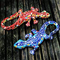 Blue Mosaic Coloured Resin Lizard Garden Ornament Wall Mountable