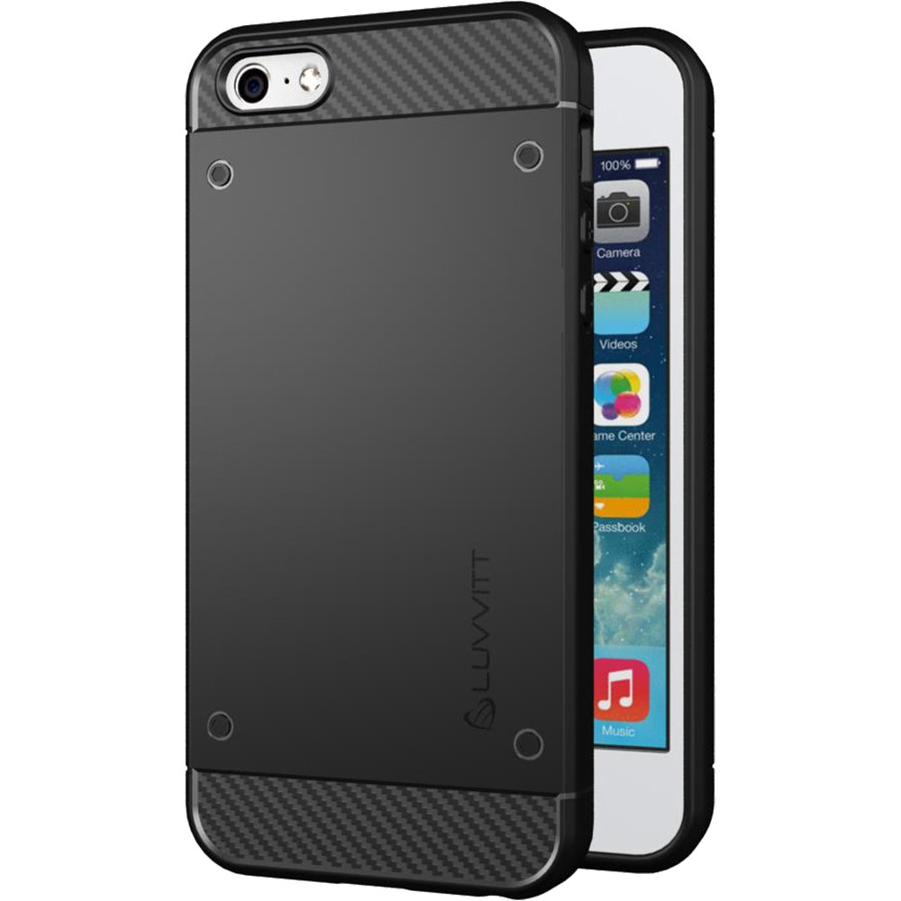 iPhone SE Case, LUVVITT [Sleek Armor] Slim Shock Absorbing Flexible Back Cover TPU Rubber Case for Apple iPhone SE Special Edition - Black