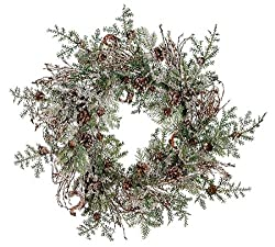 "24"" Rustic Woodland Iced Artificial Christmas Wreath with Pine Cones"