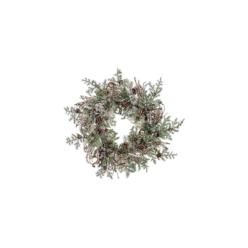24 Rustic Woodland Iced Artificial Christmas Wreath with Pine Cones