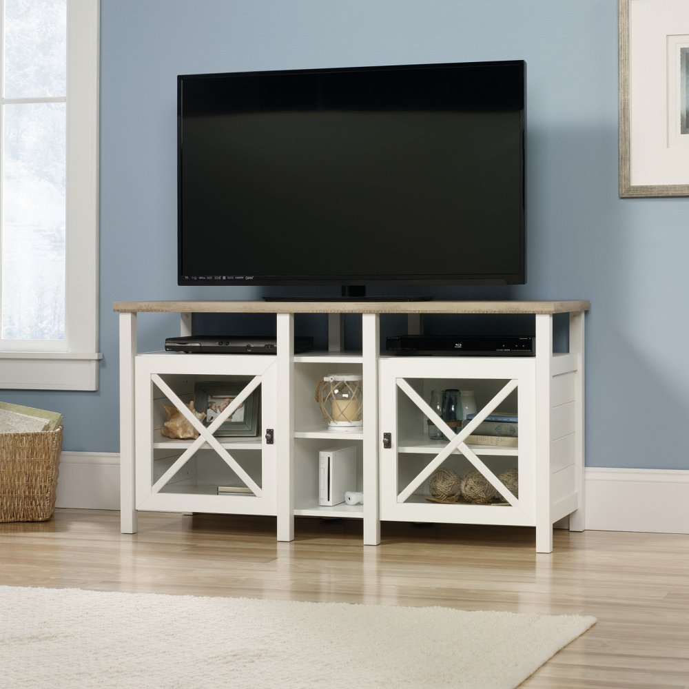 Sauder Cottage Road Entertainment Credenza, Soft White Finish