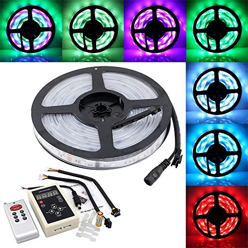 IWISHLIGHT 16.4ft 5M SMD 5050 Dream Magic RGB Color LED Color Flexible Light Strip IP67 Water-resistant + IC6803 IC Chip + 133 Change RF Remote Controller (Dream Color Led compare prices)