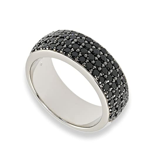 C063 Women's Band Ring In 925 Sterling Silver Rhodium Plated, Zirconia Black