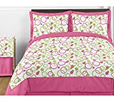 Pink and Green Circles Childrens Bedding 4 Piece Girl Twin Set