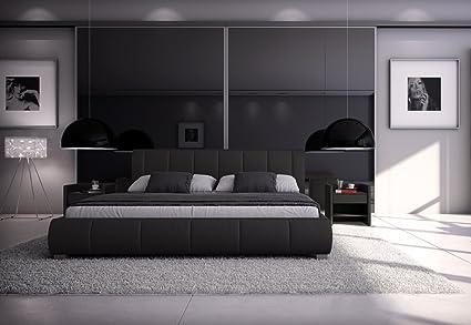 Design Lederbett 140 x 200cm schwarz