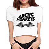 Women's Arctic Monkeys Youth Girls Tops Short Sleeve Shirt Hip-Hop Blouse Dew Navel S (Color: White, Tamaño: Small)