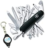 Victorinox SwissChamp Swiss Army Pocket Knife Multi-Tool Bundle with a Lumintrail Keychain Light (Black) (Color: Black)