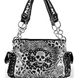 White Leopard Print Skull Studded Conceal and Carry Purse