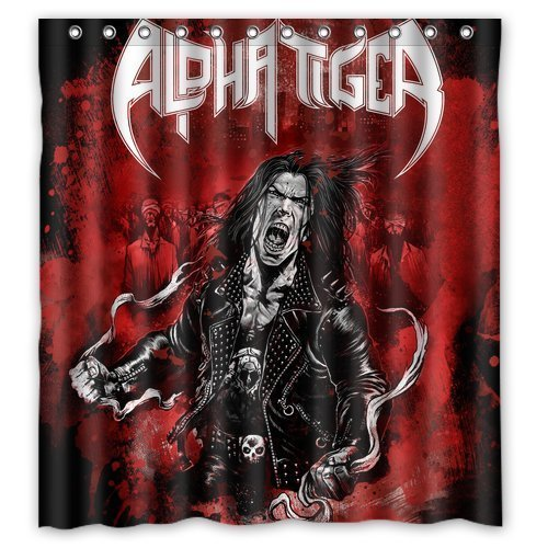 Alpha Tiger Band Logo Creative Custom Waterproof Shower Curtain Bathroom Curtains 66x72 inches