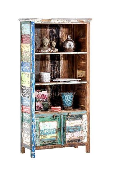 Legno massello di Teak riciclato 180x 86cm Noah Libreria CLP, profondità 42cm, Multicolore