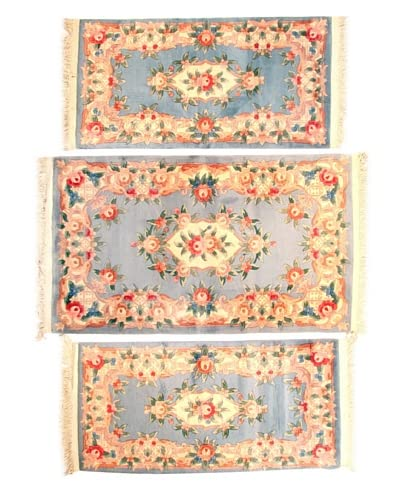 Roubini Set of 3 Chinese Hand-Knotted Rugs, Multi