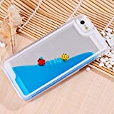 inextstation Creative Flowing Liquid with Swimming Fish Design Hard Transparent Dynamic Protective Back Cover Case for iPhone 5 5S - Blue
