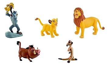 Bullyland Walt Disney Roi Lion 5 Figurines Set - Rafiki et Simba Jeune Simba Pumbaa Timon Simba