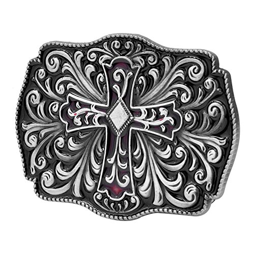Buckle Rage Adult Womens Ornate Gothic Cross Crucifix Diamond Belt Buckle Black