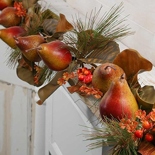 Factory Direct Craft Artificial Pomegranate, Magnolia Leaf and Pine Garland for Home Decor, Accenting and Displaying