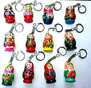 BuyRussianGifts Keychain Russian Nesting Matryoshka Doll Wooden