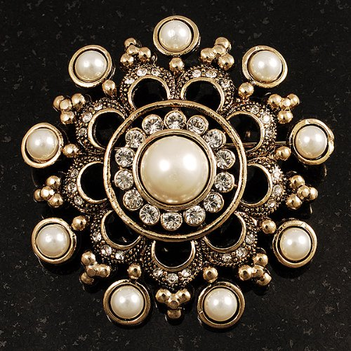 Antique Gold Filigree Simulated Pearl Corsage Brooch 6