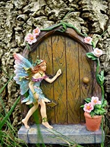 Fabulous sparkle fairy door figure home garden faerie blue for Amazon uk fairy doors