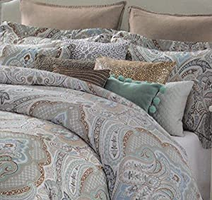Tahari Aphrodite 3pc Duvet Cover Set Full / Queen or King Cotton Sateen Bohemian Paisley Moroccan Medallion in Camel Mustard Yellow Turquoise Taupe Tan Charcoal Gray (King/Cal.King)