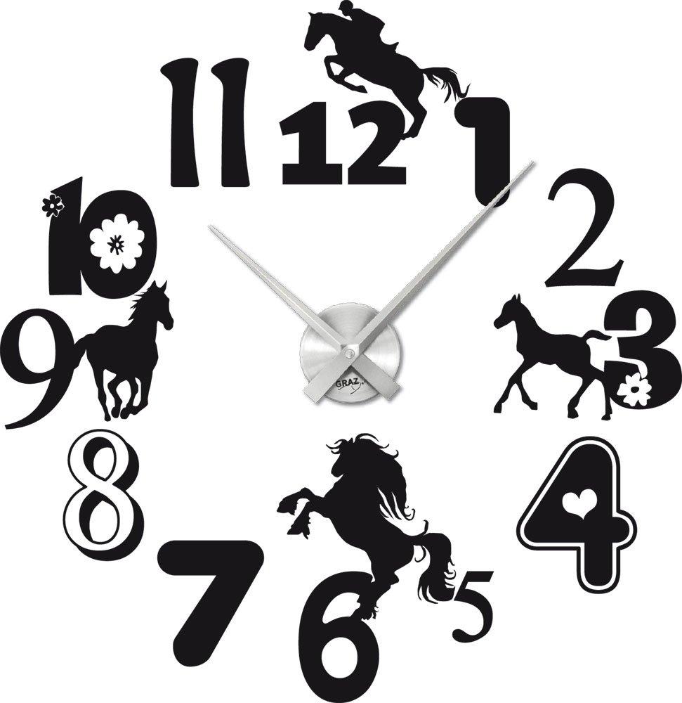 Tattoo Wanduhr inkl. Uhrwerk Wanddeko für Kinderzimmer Zahlen Pferde Blumen (Uhr Silber gebürstet //070 Schwarz) kaufen