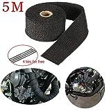 5M Car Motorcycle Exhaust Pipe Manifolds Fiberglass Heat Tape Thermal Wrap Black (Color: Black)