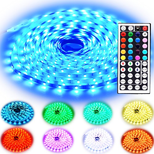 Rxment Led Strip Lighting 10M 32.8 Ft 5050 RGB 300LEDs Flexible Color Changing Full Kit with 44 Keys IR Remote Controller , Control Box ,24V 3A Power Supply for Home Decorative