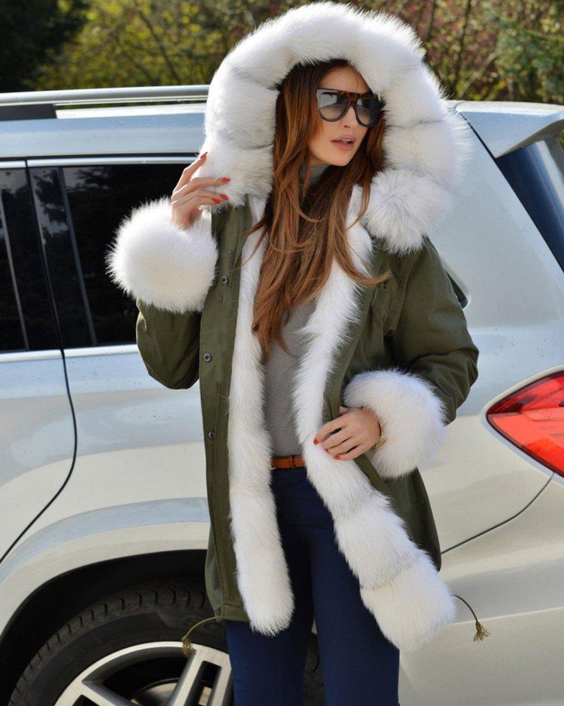 Roiii Plus Size Women Warm Fleece Vintage Winter Coat Hood Jacket Parka Outwear 4
