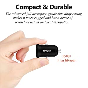Fast Car Charger, Bralon 24W/4.8A All Metal Dual USB Car Charger Adapter Fast Charging Flush Compatible iPhone Xs(max)/Xr/X/8/7/6,iPad,HTC,LG,BlackBer