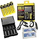 New Package Nitecore I4 Intellicharger 2014 Real New Version All-New Highly Advanced Smart Charger For Li-ion Ni-MH And Ni-Cd Rechargeable Batteries And Apply An Appropriate Charging Mode Constant Charge Current Constant Charge Voltage And Trickle Charge Capable Of Charging 4 Batteries Simultaneously Certified by ROHS CE FCC CEC And KC + Car Charger+4*NL186 2600mAh Battery+East Shine EB182 Battery Box for 18650 17670 18350 18500 16340 RC123A RCR123A to Keep Your Battery Safe US (2014 Nitecore I4+4*NL186 Battery+2*Battery Box+Car Charger)
