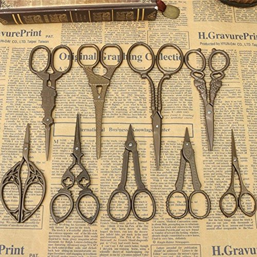 Honice DIY Vintage Scissors Titanium Sewing Style Antique Design Embroidery Shear Craft Crane Cutter Fabric Household(9 Sizes Optional) (1) 2