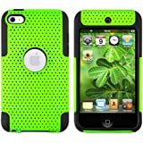 Funda Carcasa Hibrida Perforada Malla Verde Negro Para Apple iPod Touch 4 4G 4th