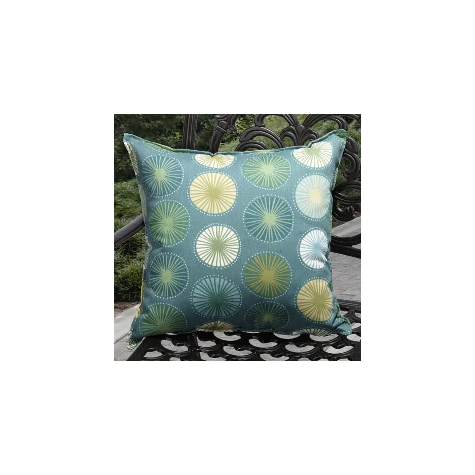 Richloom 20 Outdoor Throw Pillows in Dark Teal/Teal/Green/White/Yellow Polka Dot Print on Peacock Blue field (Set of 2)Cushion KG P0362