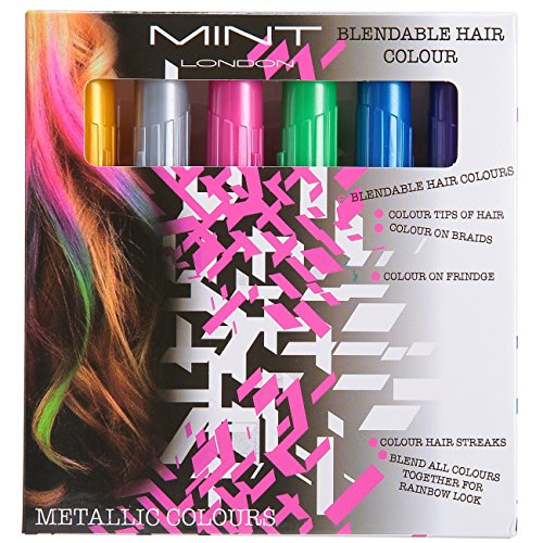 Hair Chalk - Metallic Glitter Temporary Hair Color - Edge Chalkers - No Mess - Built in Sealant - Works on All Hair Colors - Color Essentials Set (6 Count) By SySrion (Dark Blue Hair Dye Splat compare prices)